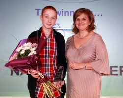 Carole Haywood, Partnership Manager presenting young volunteer award to Nathan Garner (1)