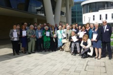 All the representatives from the nine Rotherham Groups with awards and the South Yorkshire Lord Lieutenant.