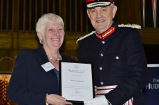 Lord Lieutenant of South Yorkshire, Andrew Coombe, presenting the award to Janet Wheatley Chief Executive at Voluntary Action Rotherham.