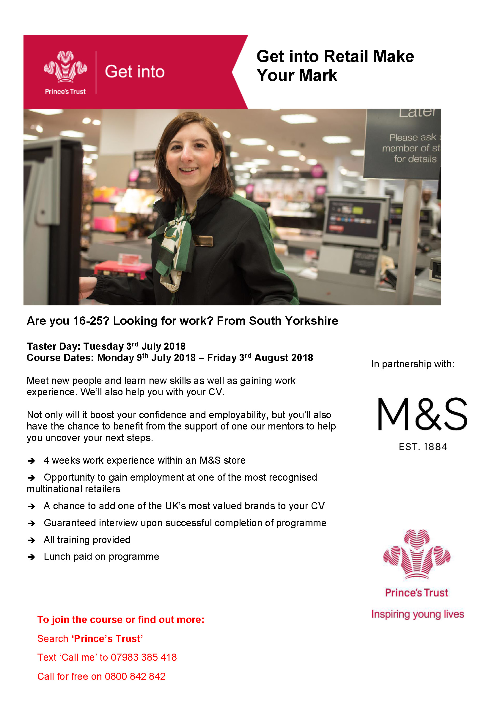 Get Into Retail with M&S - Voluntary Action Rotherham : Voluntary ...