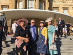 Representatives of Shiloh attending the Queen's garden party at Buckingham Palace to celebrate the Queen's Award for Voluntary Service: Judy Dalton Volunteer Deputy Chair; John McDonnell, Shiloh Voluntary Chair of trustees; Jane McDonnell, Voluntary Personal Assistant to the Chair; Linda Barnes, Clothing room volunteer.