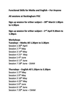 Functional Skills for Maths and English Dates - Voluntary