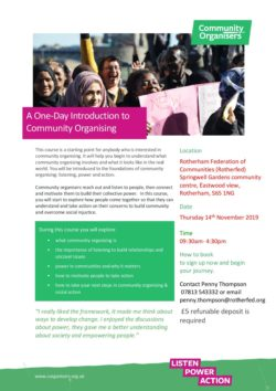 14th November - A one-day introduction to Community Organising