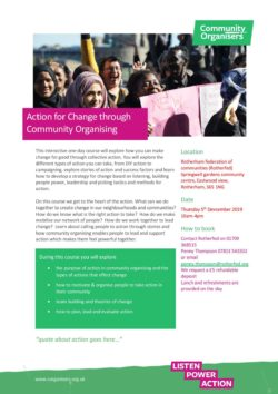 5th December - Action for Change through Community Organising